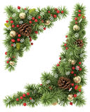 Christmas corners set. Christmas corners set from the decorated fir tree branches Stock Image