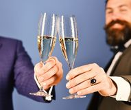Christmas corporate party concept. Managers with beards stock photos