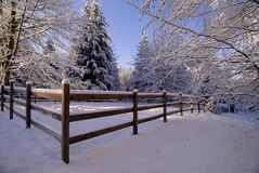 Christmas Corral. Snow covered horse corral and pasture in Maltby,WA Stock Photos