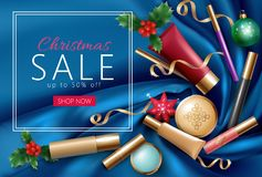 Christmas cosmetic makeup special offer sale banner template. Silk satin glossy fabric package top view flat lay mockup. New Year present decorations vector Royalty Free Stock Photography