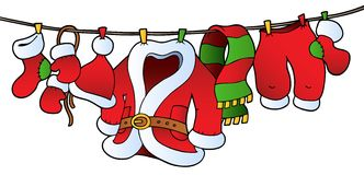 Christmas costume on clothesline Stock Photography