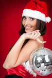 Christmas costume,girl, disco ball Royalty Free Stock Photography