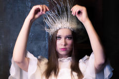 Christmas costume party.white witch or a snow queen Royalty Free Stock Photography