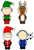 Christmas costumes. Four different christmas / fancy dress costumes illustrated in a cute form stock illustration