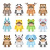 Christmas costumes kids vector illustration