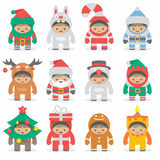 Christmas costumes kids Stock Images