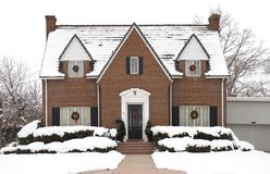 Christmas Cottage - day. Cute house decorated for Christmas Royalty Free Stock Photography