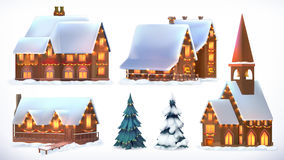 Christmas. Cottages, country houses. Festive Christmas decorations. New Year. Set of vector icon Stock Images