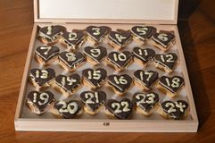 Christmas countdown – Advent calendar 1th dec. 24 days until Christmas Eve: the 6th of December - sweet hearts Advent calendar with 24 chocolate marzipan royalty free stock image