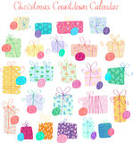 Christmas Countdown Calendar. Christmas Advent Countdown Calendar with 24 gifts Stock Images