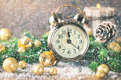 Christmas countdown new year Clock and balls fir Royalty Free Stock Photography