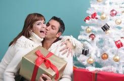 Christmas couple. Happy love romantic couple celebrating christmas on x-mas eve stock image