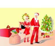 Christmas couple. Christmas fireplace. cartoon vector illustration Stock Image