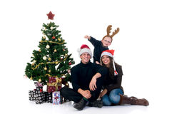 Christmas couple with child Stock Photo