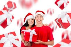 Christmas couple creative disign Stock Photos