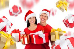 Christmas couple creative disign Royalty Free Stock Image