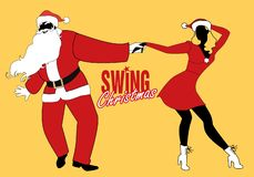 Christmas couple dancing swing, rock or lindy hop. vector illustration