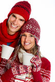 Christmas couple drinking hot tea. Stock Image