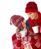 Christmas couple drinking hot tea. Stock Photos