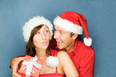 Christmas couple gift Royalty Free Stock Photography