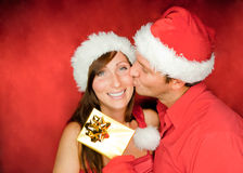Christmas couple gift Royalty Free Stock Images