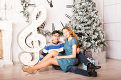 Christmas Couple.Happy Smiling Family at home Royalty Free Stock Photography