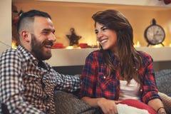 Christmas couple at home Stock Photos