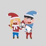Christmas Couple kids  with pet cat. 3D Royalty Free Stock Photography