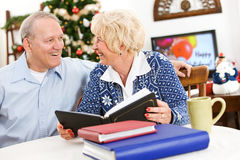 Christmas: Couple Looking at Scrapbooks Stock Photography