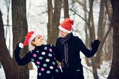 Christmas couple in love Royalty Free Stock Images