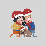 Christmas Couple with pet dog. 3D stock illustration