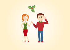 Christmas couple under the mistletoe. Christmas background. Christmas vector illustration. Holiday background. Christmas card illustration. Illustration of love Royalty Free Stock Image