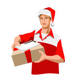 Christmas courier. Courier in Christmas hat Is holding a the parcel. Vector vector illustration