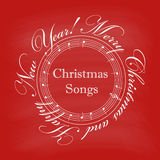 Christmas cover with text in a circle and music notes Royalty Free Stock Photos