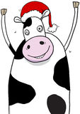 Christmas Cow Wearing Santa Hat Cartoon Royalty Free Stock Images