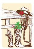 Christmas cowboy elements for holiday. Stock Photo