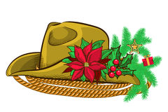Christmas cowboy hat and holiday elements Stock Photo