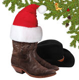 Christmas cowboy objects isolated on white Stock Photography