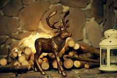 Christmas coziness. Toy deer. Royalty Free Stock Photos