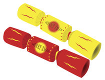 Christmas Cracker. S in red and yellow with merry xmas text Stock Image