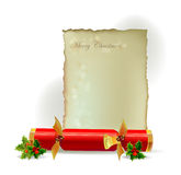 Christmas cracker and letter template Royalty Free Stock Images