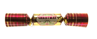 Christmas Cracker with tartan pattern. Isolated on white background Stock Photography