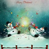 Christmas cracker. Winter holiday greeting card with two cheerful snowman with Christmas cracker. Computer graphics stock illustration