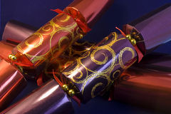 christmas crackers. Three large Christmas crackers Royalty Free Stock Images