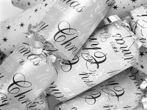 Christmas Crackers. Closeup of silver christmas crackers Stock Image