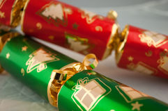 Christmas Crackers. Two Christmas crackers in red and green Stock Photos