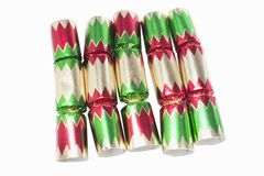Christmas Crackers. On White Background Stock Photo