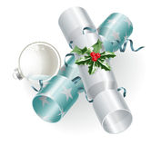 Christmas crackers and decoration Royalty Free Stock Photography