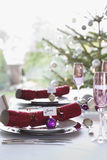 Christmas Crackers On Dining Table Stock Image