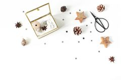 Free Christmas Craft Composition. Silk Ribbons And Christmas Balls In Golden Glass Box. Vintage Scissors, Pine Cones, Silver Stock Photography - 130700082